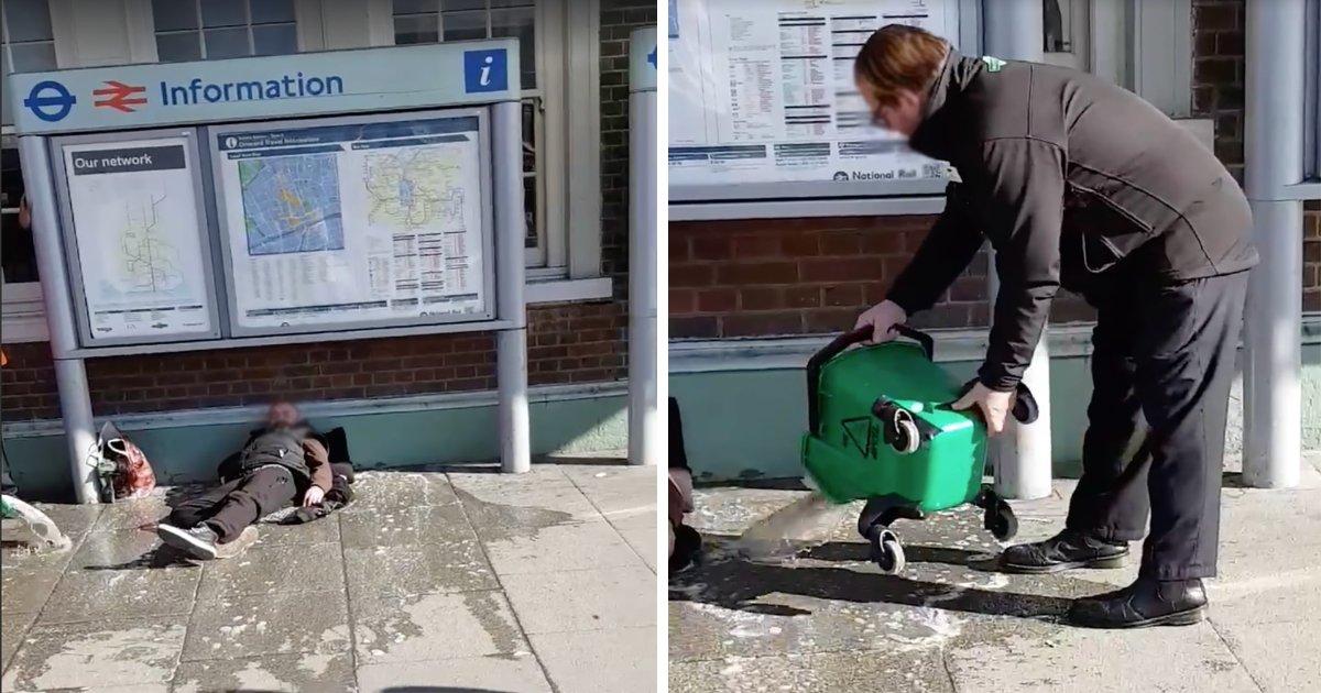 featured image 4.png?resize=412,232 - Des employés de la gare de Sutton ont été suspendus après avoir versé de l'eau sale sur un sans-abri
