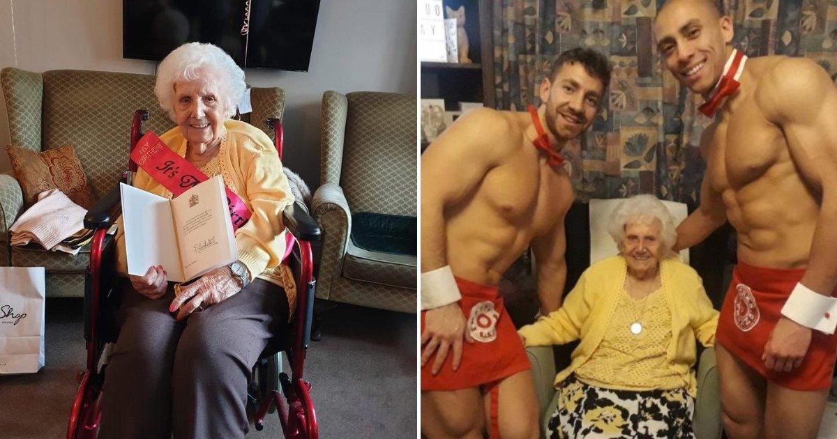 grandmother.png?resize=412,232 - Une arrière-arrière-grand-mère célèbre son 100e anniversaire avec des stripteaseurs et elle adore ça!