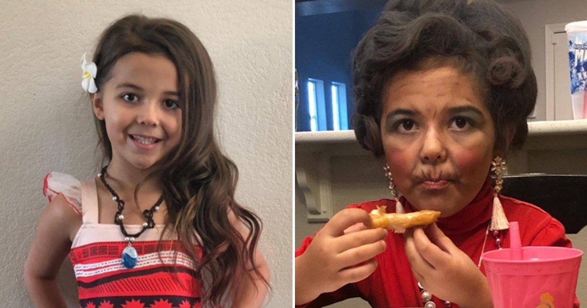old6.png?resize=412,232 - Une fille de 6 ans fait un tabac en se déguisant comme une centenaire pour la fête de l'école