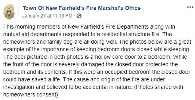 Warning: They explained that having the door shut could be what saves someone from a fire, especially if a child is sleeping through it