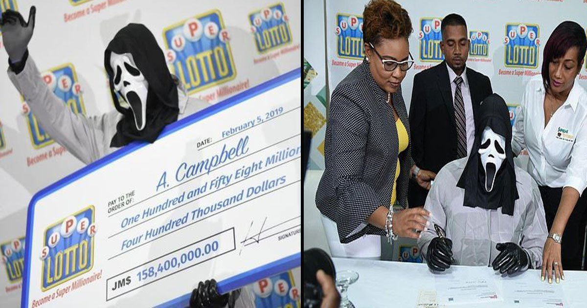 untitled 1 19.jpg?resize=412,232 - Lottery Winner Wears A Scream Mask To Collect £1million Jamaican Lottery Prize, So He Wouldn't Have To Share The Money With Friends And Relatives