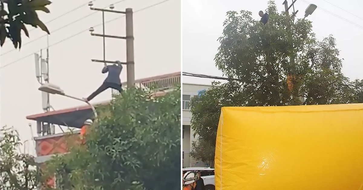 untitled design 67 1.png?resize=412,232 - Drunk Man Climbs On Power Pole And Walks On Live Electrical Cables For Hours