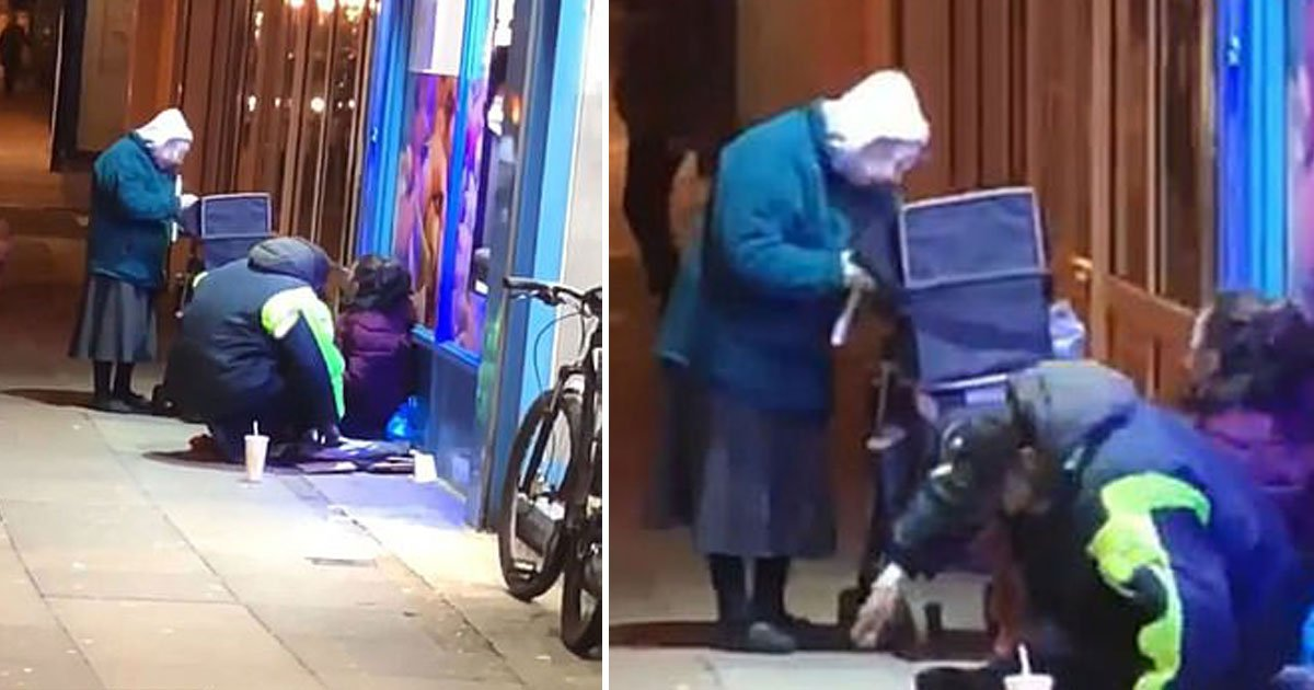 woman gives soup homeless.jpg?resize=300,169 - 72-Year-Old Woman's Kind Act For Homeless Men Caught On Camera