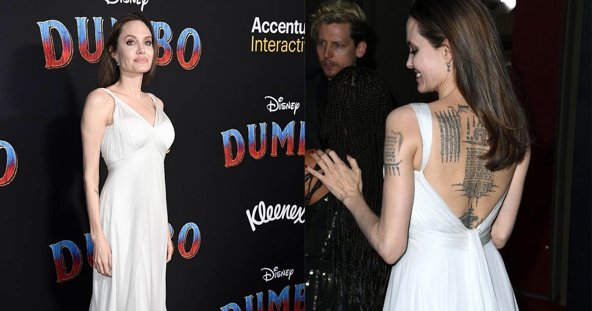 angelina jolie stunned in a backless gown as she showed off her tattoo collection at dumbo premiere.jpg?resize=412,232 - Angelina Jolie Stunned In A Backless Gown As She Showed Off Her Tattoo Collection At Dumbo Premiere