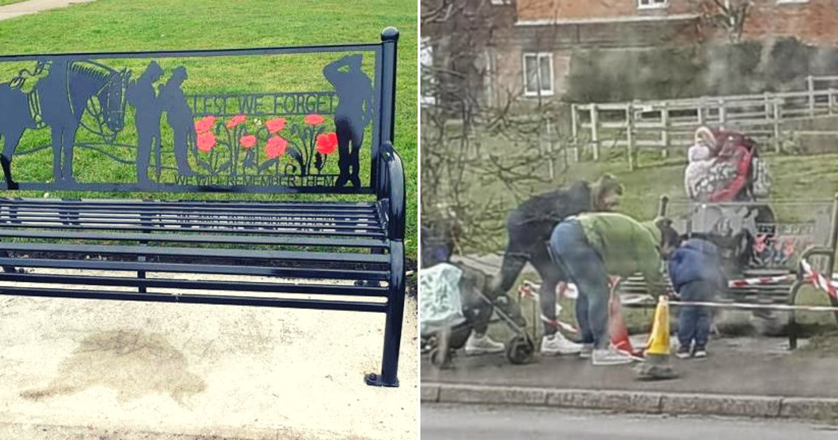 bench4.png?resize=1200,630 - Two Mothers Slammed For Vandalizing The Cement Under WWI Memorial While Children Watch