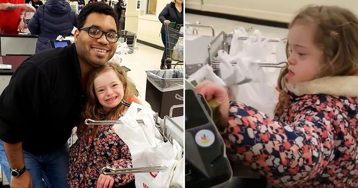 cashier disabled girl.jpg?resize=412,275 - Cashier Asks A Girl With Special Needs To Help Him And Her Reaction Is Heartwarming