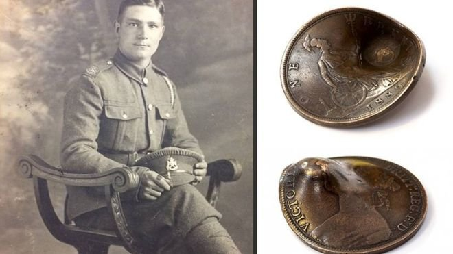 Private John Trickett and his coin