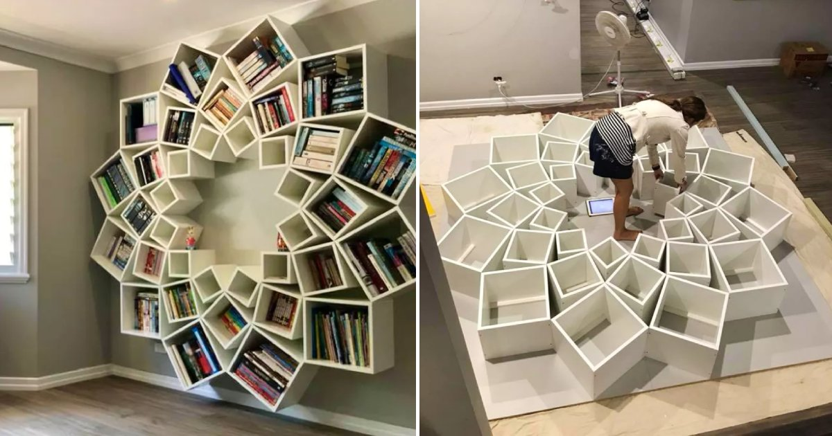 custom bookcase.png?resize=1200,630 - A Couple Built A Custom Bookcase For Their Children And They Loved It