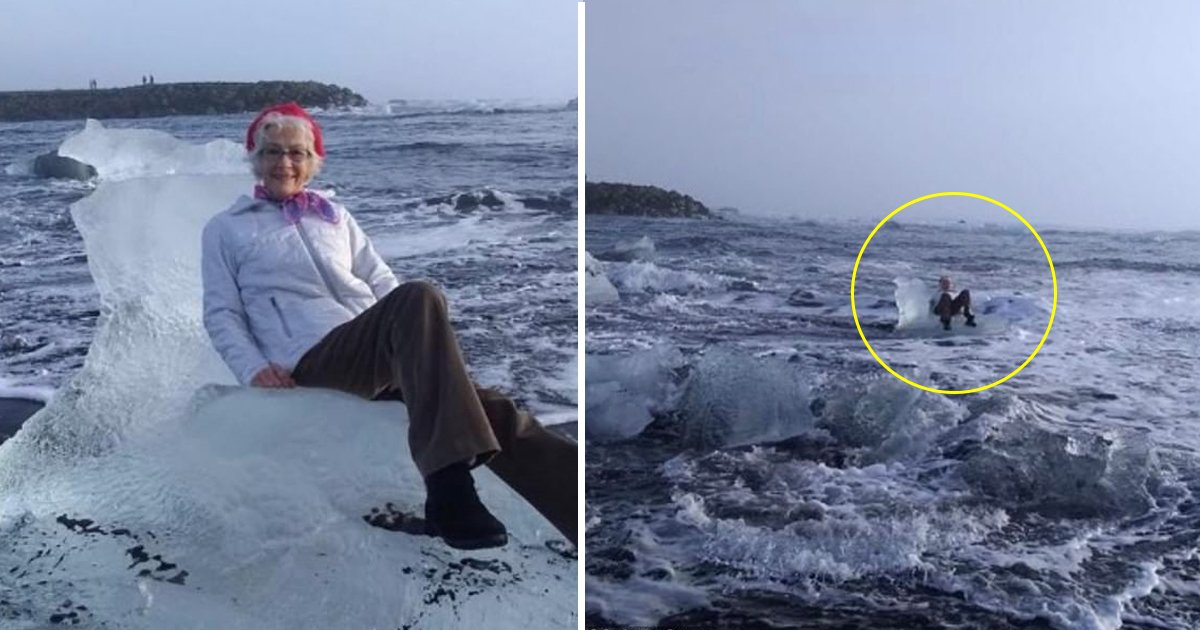 dfdsf.jpg?resize=1200,630 - Grandmother Was Posing For A Photo On An 'Ice Throne' - Moments Later Large Wave Came Sweeping It Out To Sea