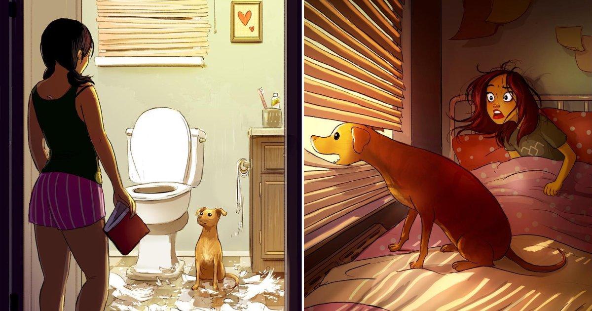dog owners relate.png?resize=300,169 - 15 illustrations qui montrent que les propriétaires de chiens ne se sentent jamais seuls
