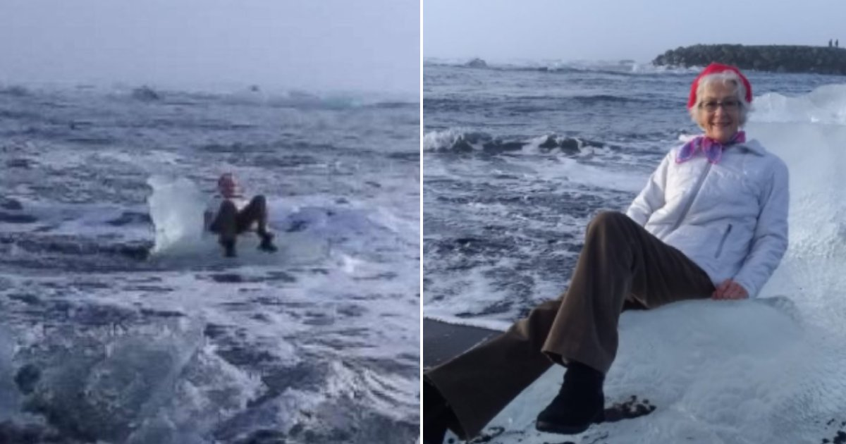 drifted out.png?resize=1200,630 - Elderly Woman Rescued From Iceberg Throne That Drifted Out To Sea While She Was Posing For A Picture