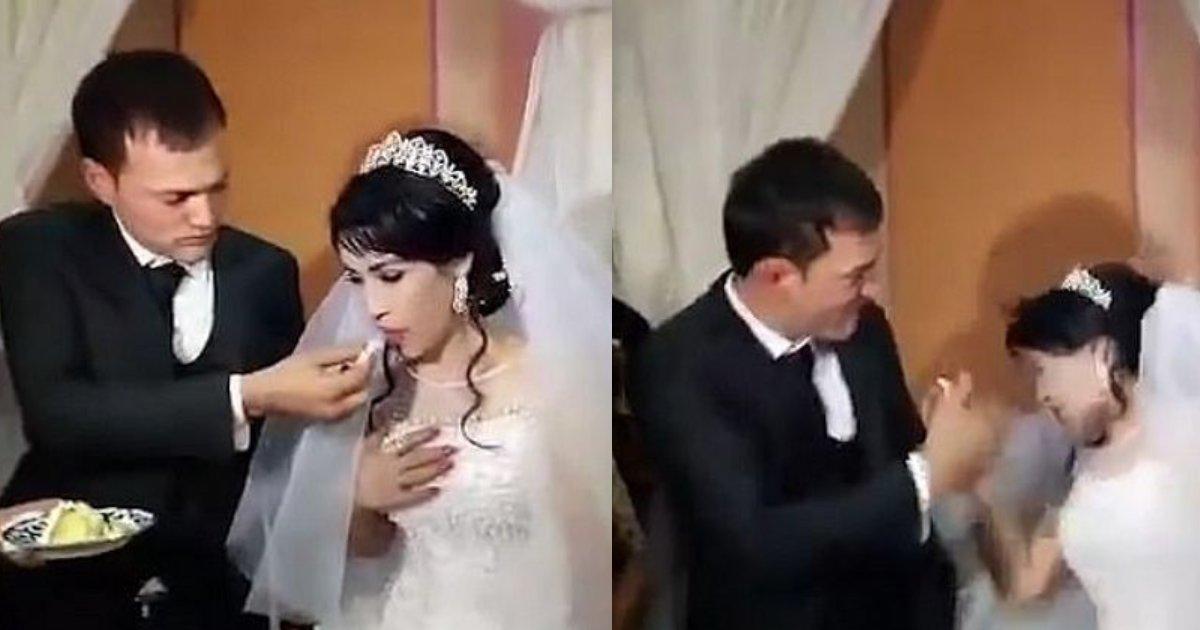 """e696b0e5bbbae9a1b9e79bae 23.png?resize=412,232 - 結婚したくなかった?...ウェディングケーキでふざける花嫁に新郎が""""ビンタ""""?!"""