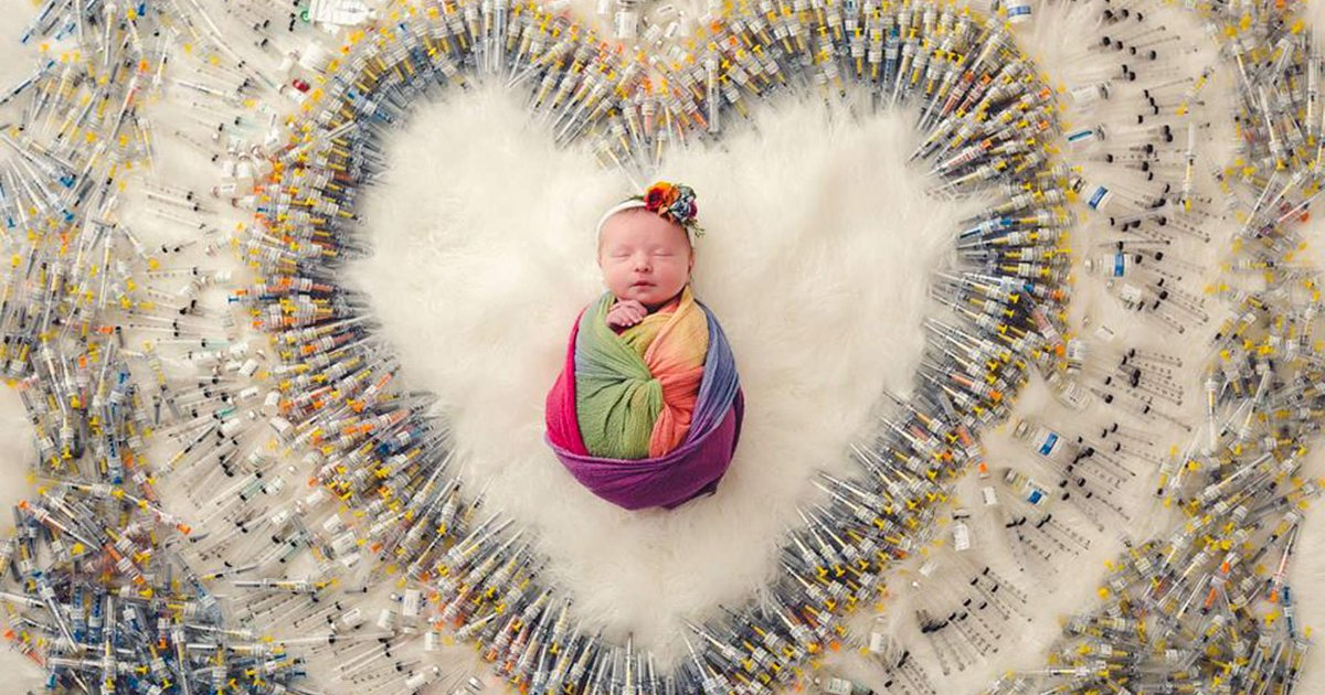 featured image 42.png?resize=412,232 - The Story Behind Viral Photo Of 'Rainbow' Baby Surrounded By Mother's IVF Syringes