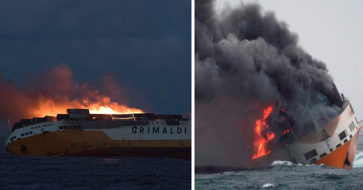 featured image 45.png?resize=1200,630 - Italian Ship Carrying 2,000 Cars Catches Fire And Sinks In Atlantic Ocean