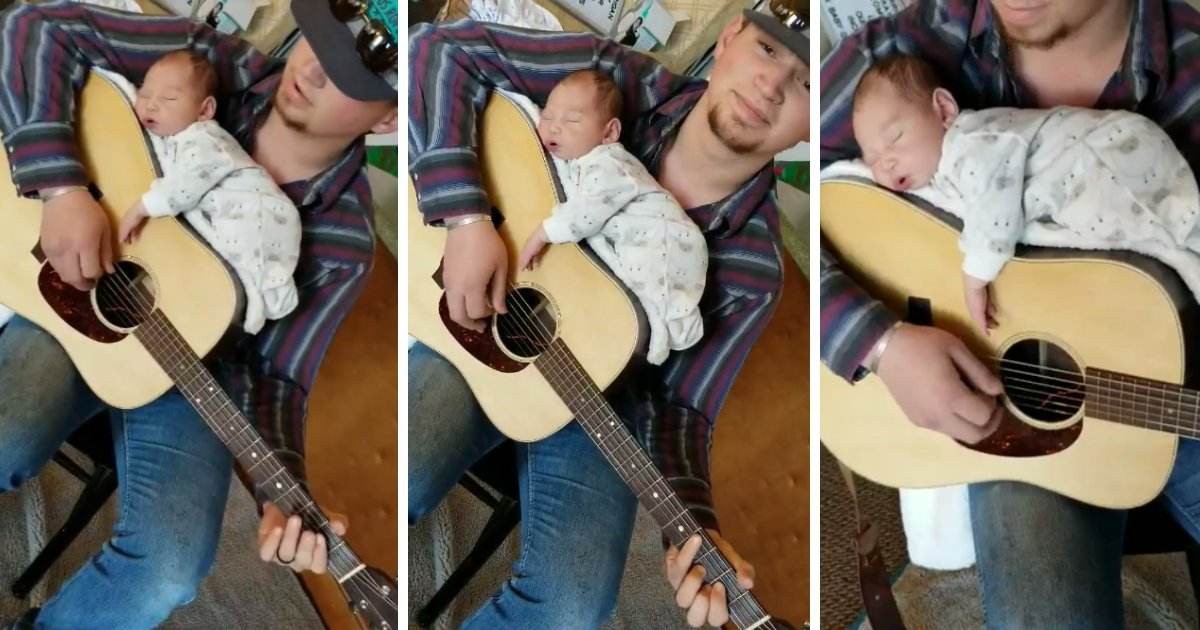 featured image 49.png?resize=1200,630 - Adorable Moment Of A Baby Taking A Nap On Daddy's Guitar