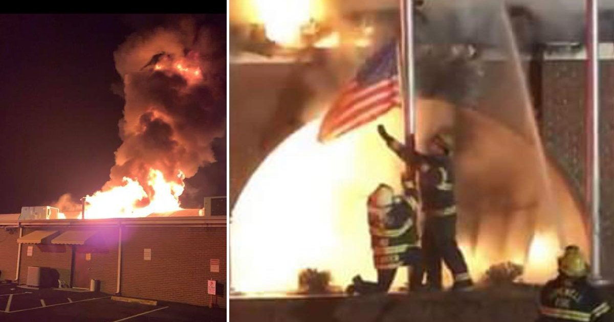 firefighters save american flag.png?resize=412,275 - Virginia Firefighters Save An American Flag As A Building Catches Fire