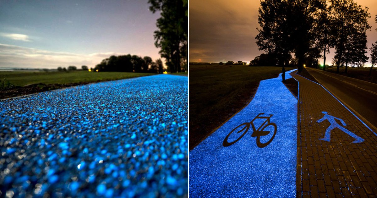 glow in dark path.png?resize=412,232 - Poland Revealed A 'Glow-In-The-Dark Bicycle Pathway' That Is Charged By The Sun
