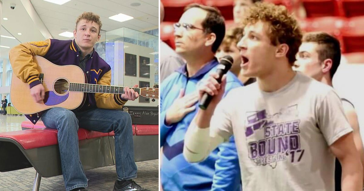 high school wrestler national anthem.jpg?resize=412,275 - High School Wrestler Sings National Anthem After Realizing There's No One To Sing - Wins The Internet