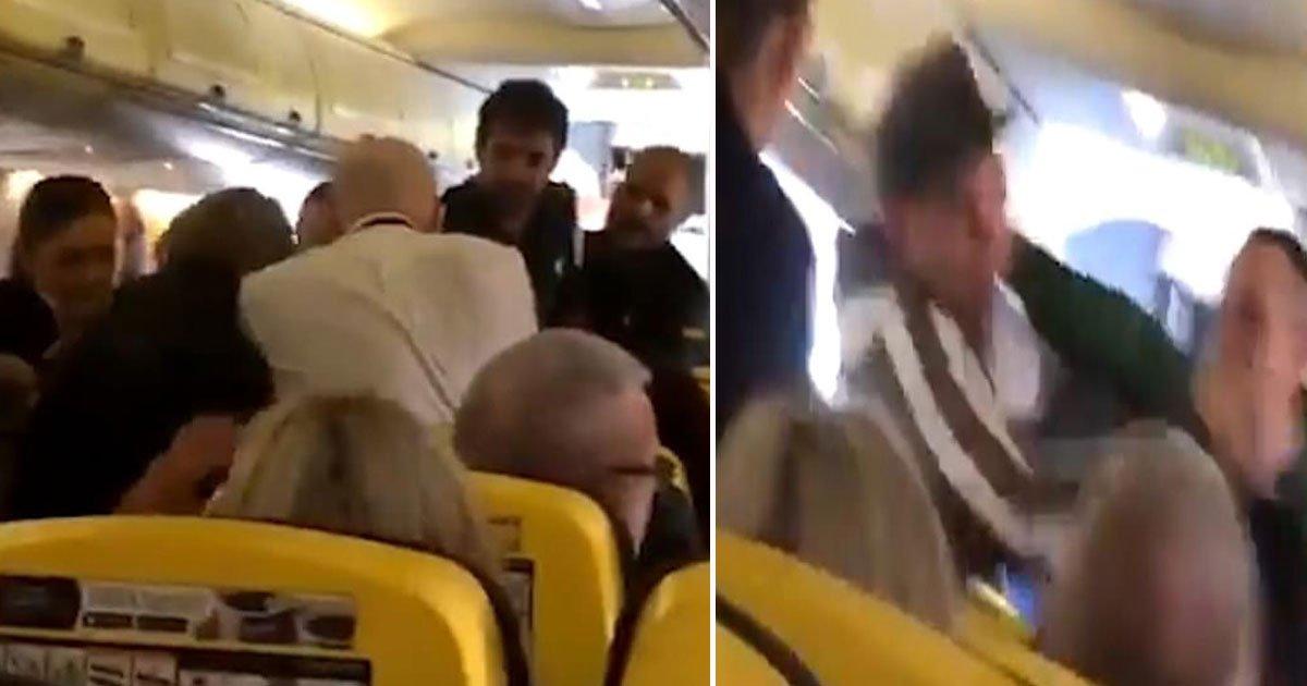 mid air brawl.jpg?resize=412,232 - Woman Not Wearing Shoes' Spark Brawl On Ryanair Flight