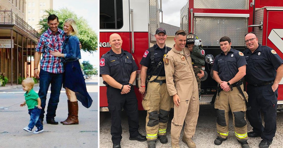 military dad surprises son.jpg?resize=412,232 - Firefighters Help Military Dad Surprise His Son After He Returned From A 6-Month Deployment
