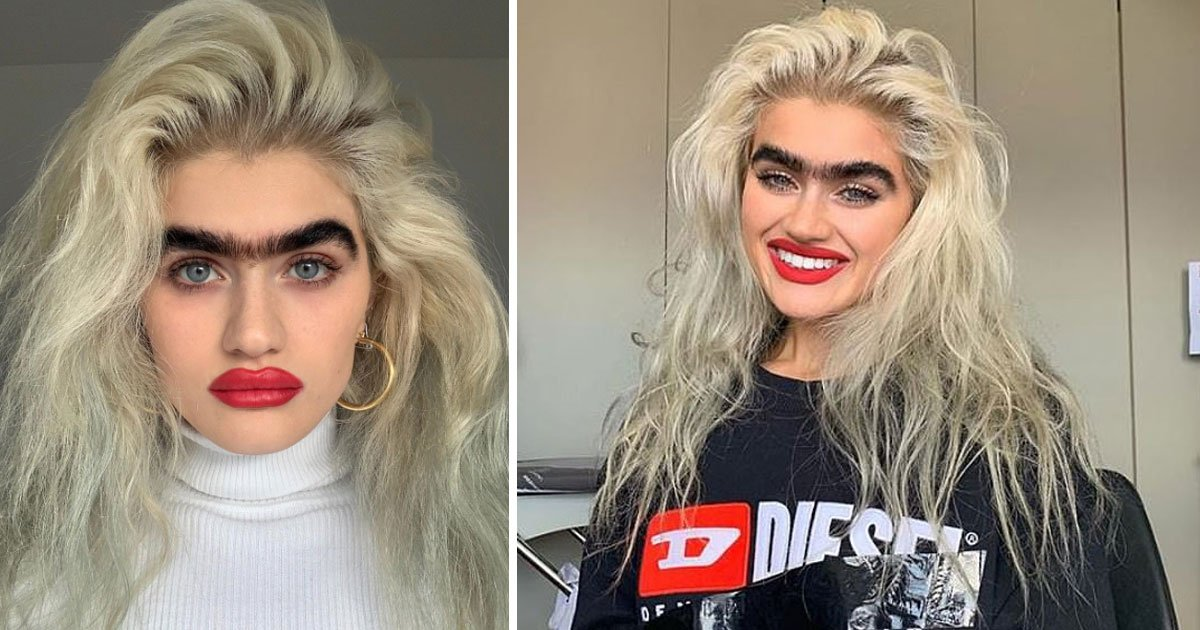 model death threats eyebrows.jpg?resize=412,232 - Woman With Thick Jet-Black Eyebrows Models To Promote Body Positivity