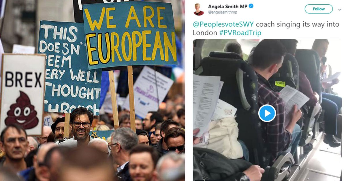 pro brexit sings.jpg?resize=1200,630 - Pro-Brexit Protesters Sing On A Bus On The Way To People's Vote March In London