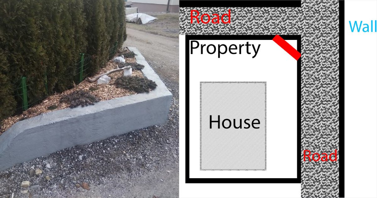 replace fence.png?resize=1200,630 - Neighbors Kept Running Over The Family's Fence So The Dad Replaced It With Concrete