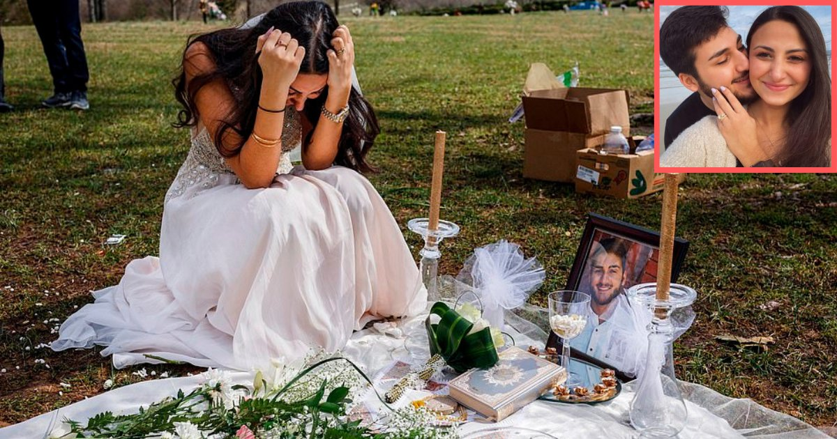 s3 8.png?resize=1200,630 - Heartbreaking Photos of a Young Bride Grieving on her Fiance's Grave on Their Wedding Day in Her Wedding Gown