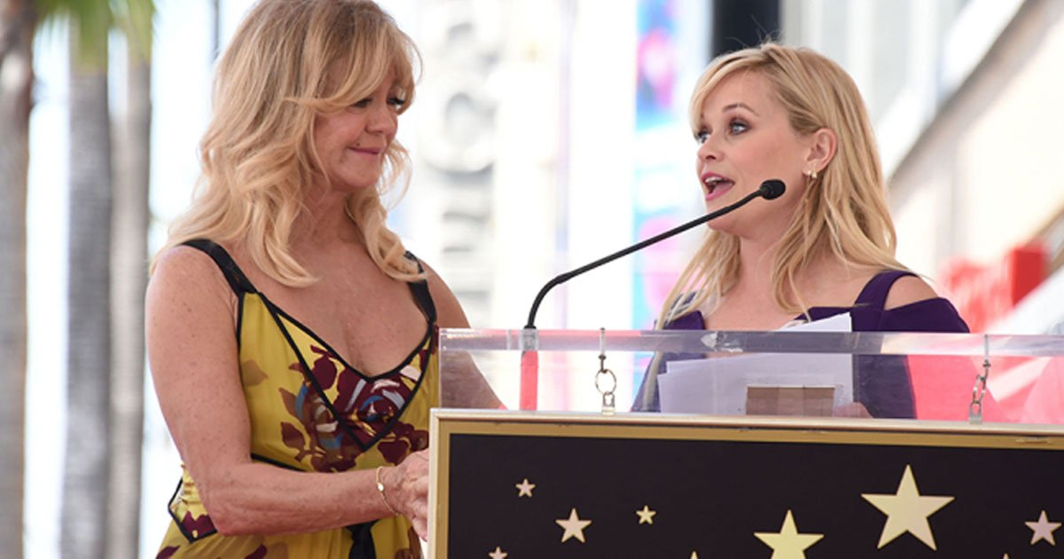 she gave a touching speech recalling how hawn has influenced her in so many ways over the years.jpg?resize=412,232 - Reese Witherspoon Tears Up At Goldie Hawn's Hollywood Walk Of Fame Ceremony