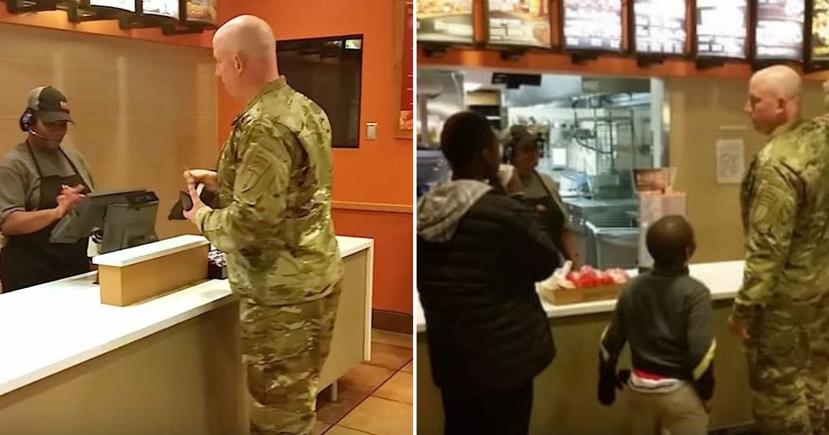 soldier2.png?resize=1200,630 - Soldier Orders Meal But Stops After Hearing Two Young Boys Behind Him, They're Forever Grateful