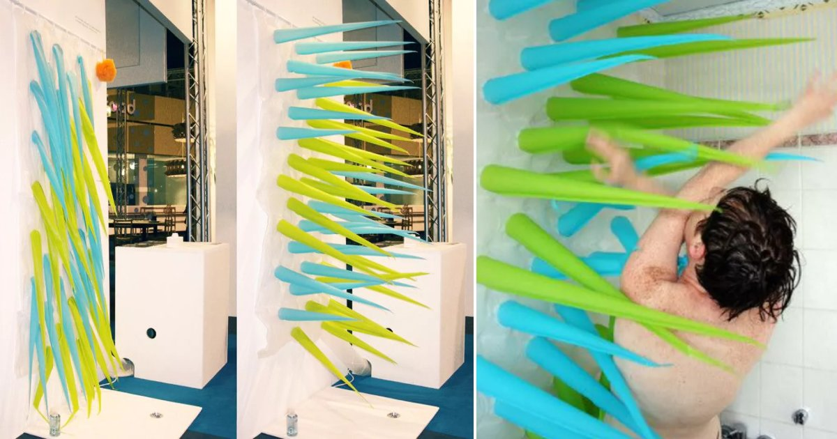 spiky shower.png?resize=412,232 - This Inflatable Shower Curtain Saves Water By Only Allowing 4 Minute Showers Before Kicking Users Out