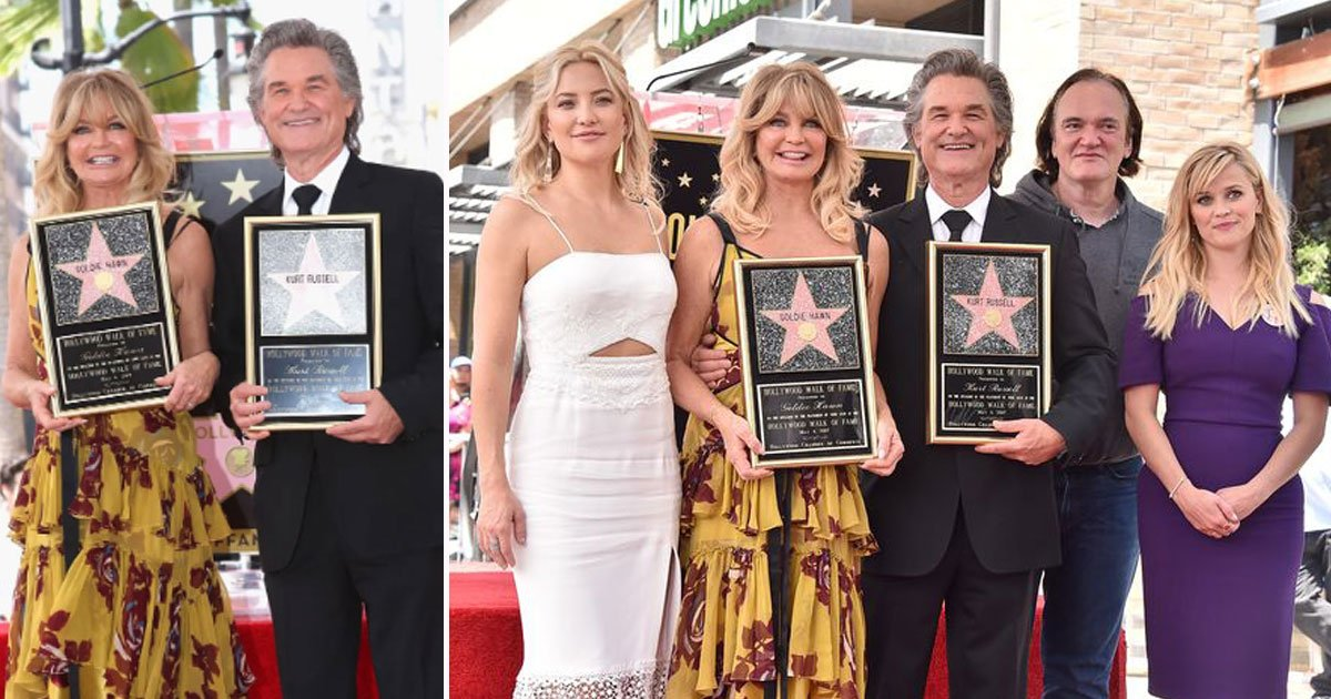 stars goldie hawn kurt.jpg?resize=412,232 - Kurt Russell And Goldie Hawn Receive Stars During A Double Hollywood Walk Of Fame Ceremony
