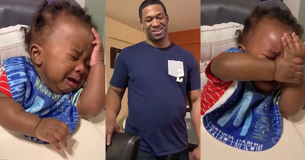 the video of little boy crying after seeing his father with a shaved head is hilarious to see.jpg?resize=1200,630 - Video Of Little Boy Crying After Seeing His Father With A Shaved Head Is Hilarious