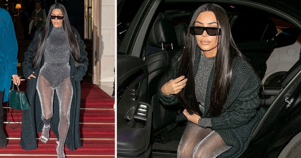 untitled 1 71.jpg?resize=412,232 - Kim Kardashian Appeared In Sparkling Gray Unitard As She Headed Out For Dinner In Paris