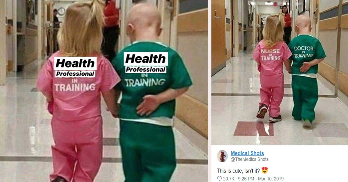 untitled 2 3.jpg?resize=1200,630 - An Image Of Two Cute Children In Scrubs Sparks A Heated Debate On Twitter