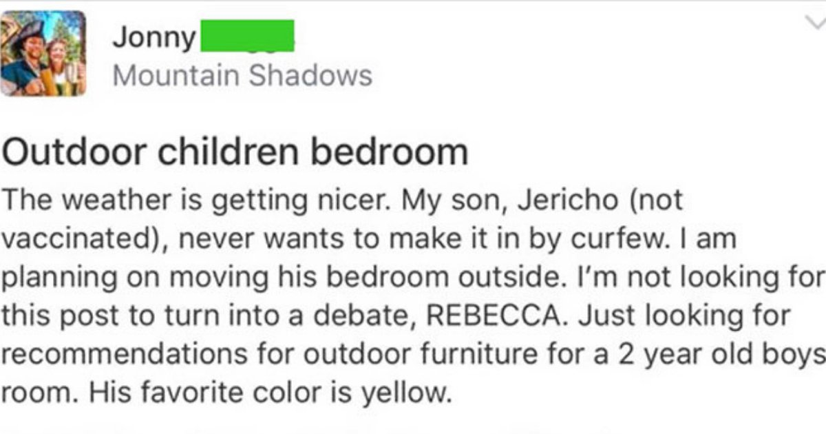 untitled design 36.png?resize=1200,630 - Anti-Vaxx Mom Asks Parents For Advice On Building 'Outside Bedroom' For Her Toddler