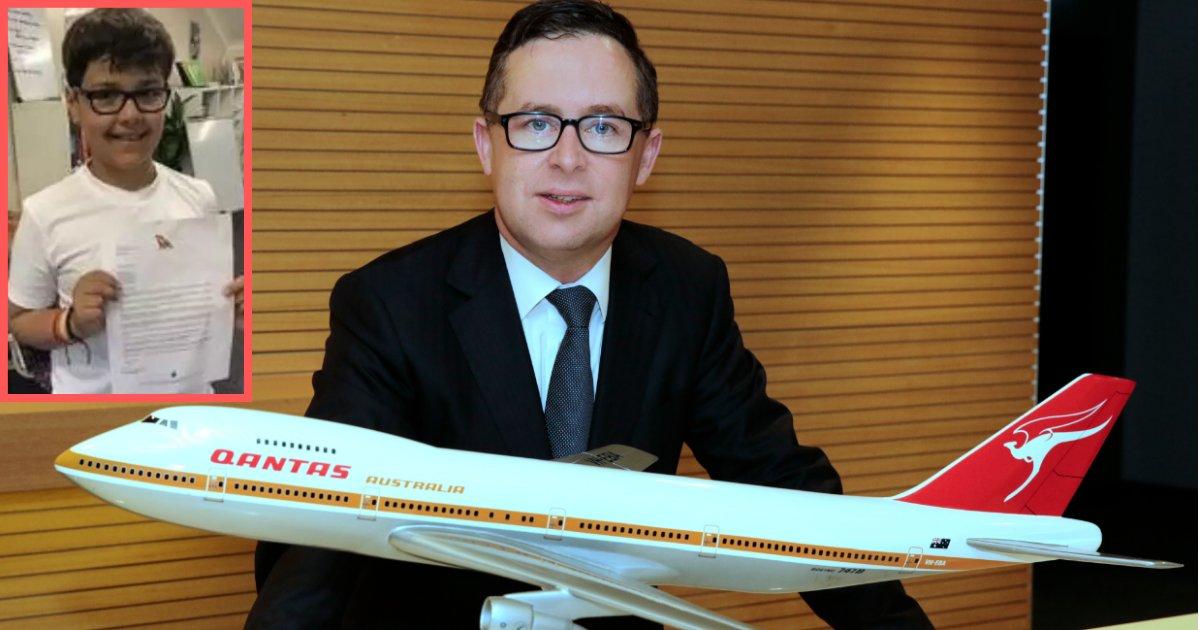 y3 7.png?resize=412,232 - Un garçon de 10 ans a écrit une lettre au PDG de la compagnie aérienne Qantas et est devenue virale