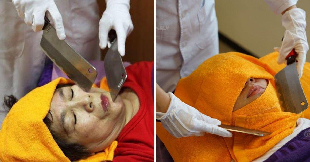 2 5.png?resize=1200,630 - 鶏肉を切っていた刀を顔に!?今台湾で話題の衝撃的なマッサージとは
