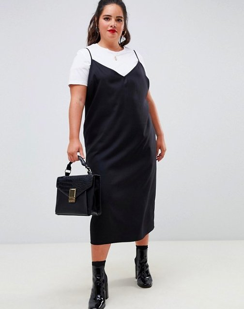 Actually, not just accessories, but other clothes as well. Obviously you can toss it over a tee or turtleneck or under a jacket or knotted shirt, but one of my favorite ways to wear a slipdress is like a skirt under a pullover sweatshirt. The sporty/sexy contrast is simply 🔥.Get it from Asos for (available in sizes 12-26 and in straight sizes here).