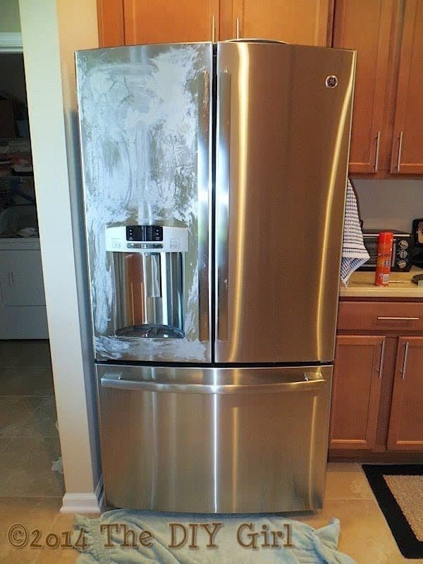 I've cleaned a couple of different stainless steel fridges this way, and I found it does really work! You just allow the Pledge to dry, then buff off in circles. From The DIY Girl. Get two cans of Pledge multi-surface cleaner from Walmart for .96.
