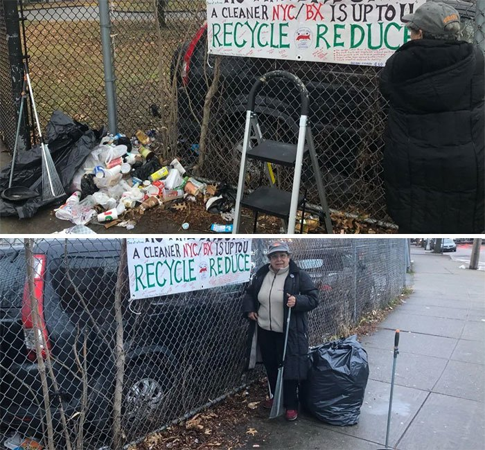 My Aunt Is A 70 Year Old Retired School Teacher And She Has Been Making These Signs And Going Around Cleaning Up Our Neighborhood In The Bronx For A Few Months Now #trashtag