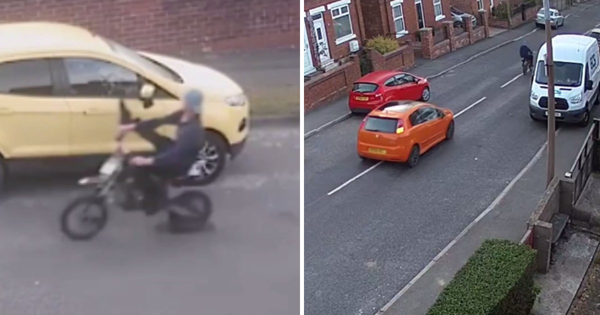 biker rammed.png?resize=412,232 - Biker Who Deliberately Knocked People's Car Side Mirrors Off Rammed Into A Parked Van