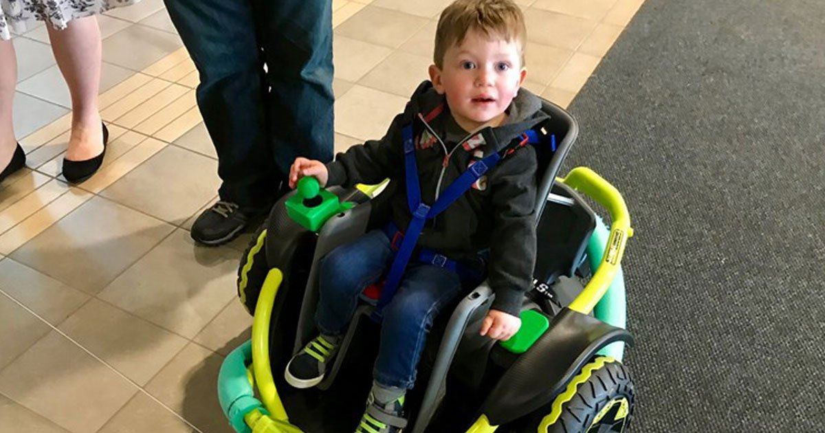 boy super wheelchair.jpg?resize=1200,630 - High School Robotics Students Turned A Toy Car Into A Power Wheelchair For A 2-Year-Old Boy With Mobility Issues