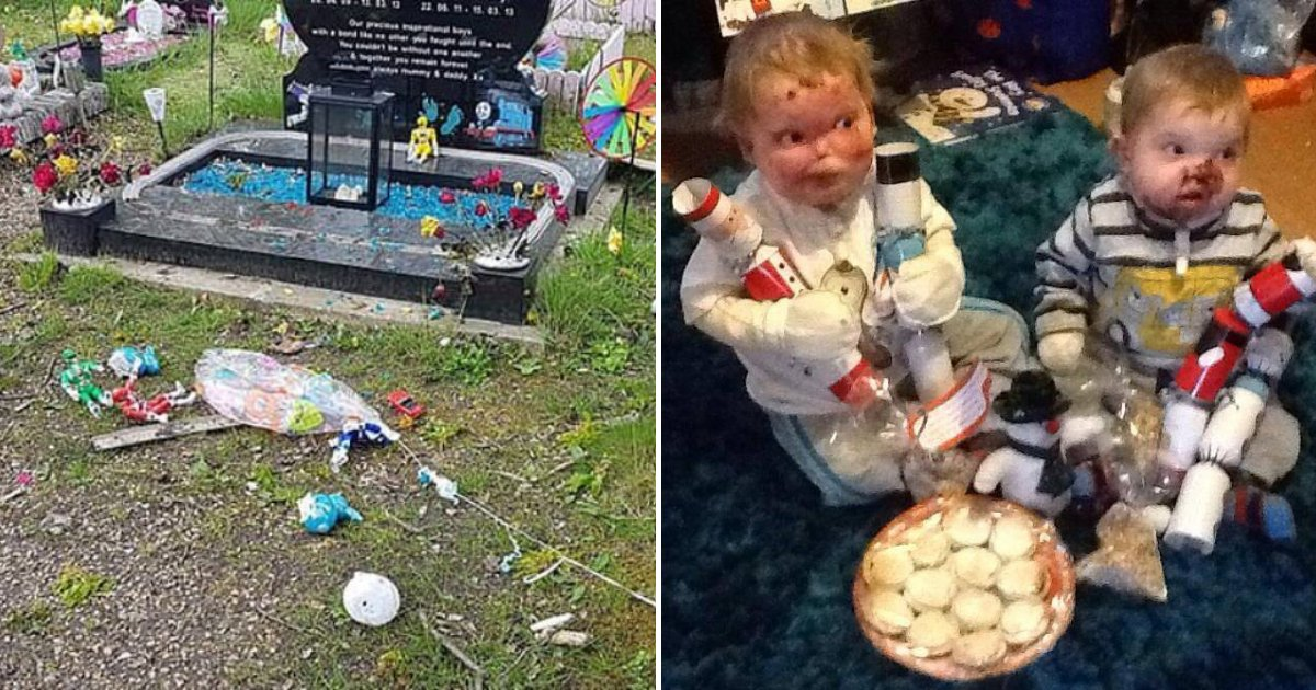 brothers4.png?resize=1200,630 - Mother Torn After Thugs Vandalized Grave Of Two Little Brothers Who Died From A Rare Illness