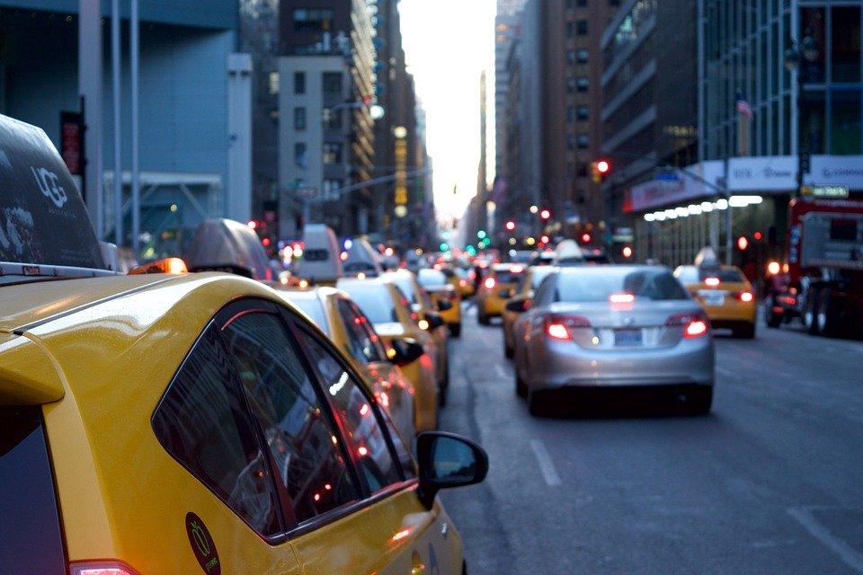 택시, 차량, 도로, 도시, 도시의, 자동차, 잼, 수송, 교통, 황색, 바쁜