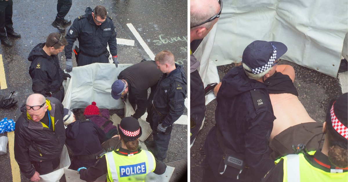 d2 18.png?resize=1200,630 - Pendant une manifestation à Londres, une activiste du climat colle ses seins sur la route