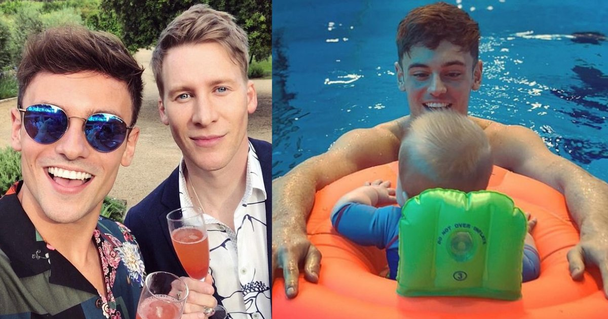 d3.png?resize=1200,630 - Tom Daley and His Husband Dustin Lance Take Their Son Robbie for Swimming