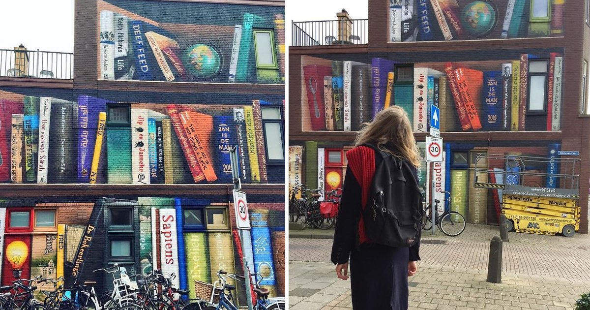 dfs.jpg?resize=412,232 - Dutch Street Artist converted Utrecht Apartment Building into a Huge Phenomenal Mural Depicting Bookcase
