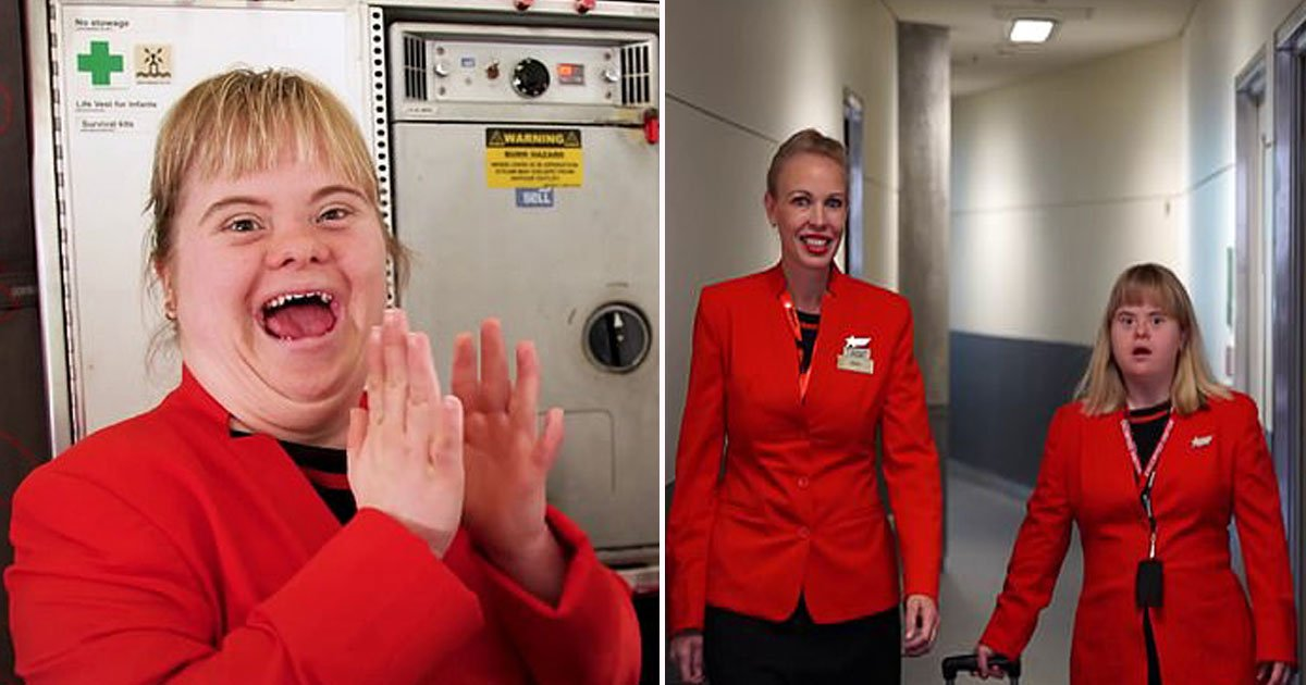 down syndrome flight attendant.jpg?resize=1200,630 - Woman With Down Syndrome - Who Video Bombed A Live TV Interview - Served As A Jetstar Flight Attendant