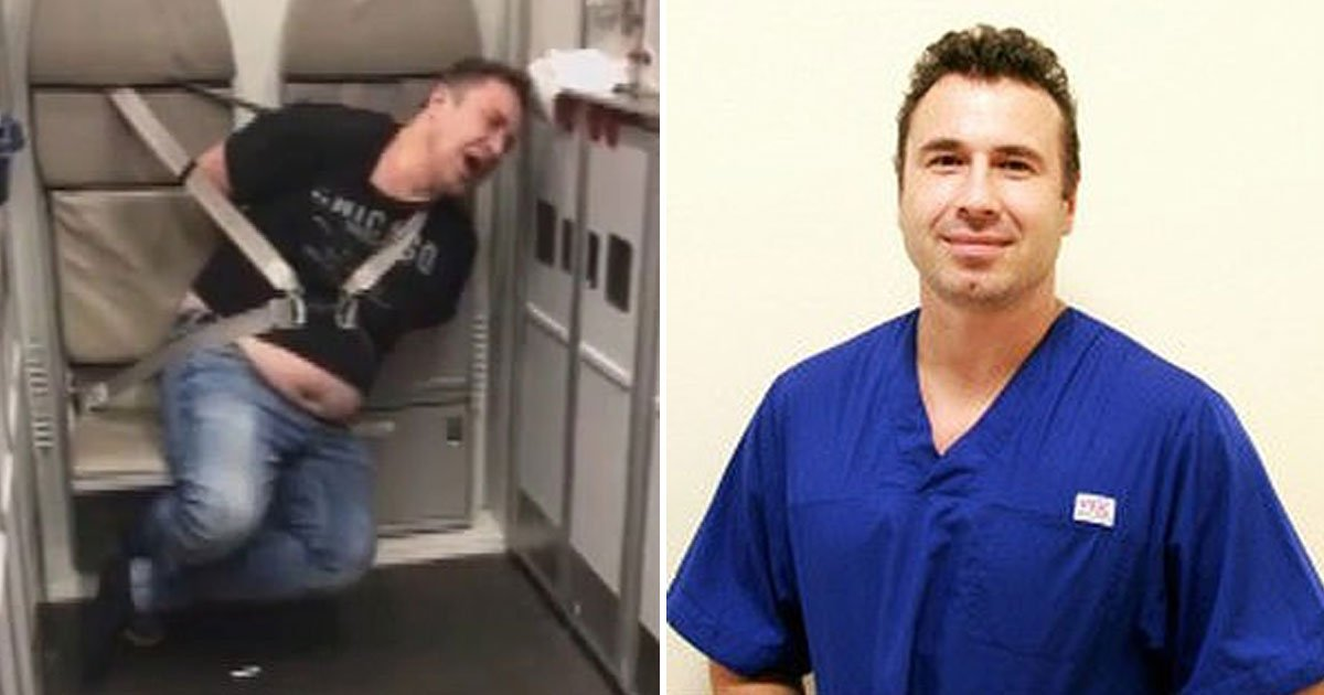drunk doctor tied up.jpg?resize=412,232 - Passengers Tied A Drunk Doctor To A Seat After He Tried To Open The Emergency Exit At 33,000ft